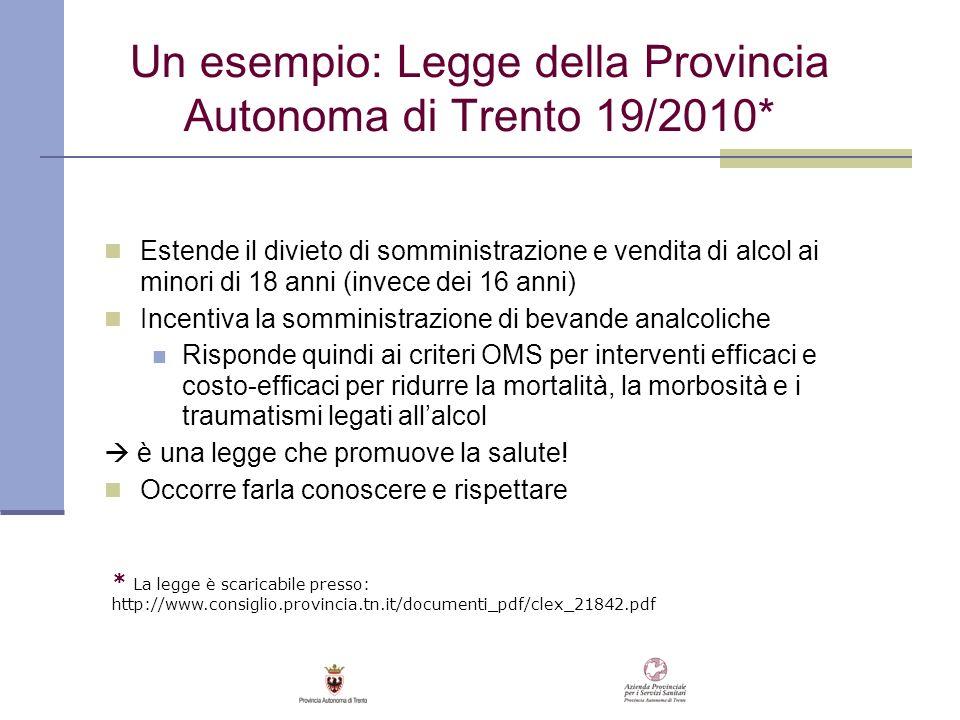 Un esempio: Legge della Provincia Autonoma di Trento 19/2010* Estende il divieto di somministrazione e vendita di alcol ai minori di 18 anni (invece d