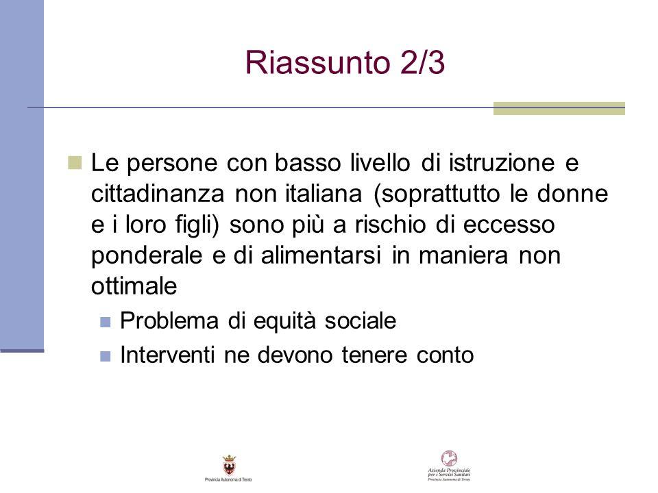 Riassunto 2/3 Le persone con basso livello di istruzione e cittadinanza non italiana (soprattutto le donne e i loro figli) sono più a rischio di ecces