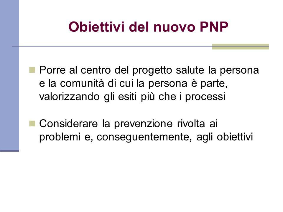 Obiettivi del nuovo PNP Porre al centro del progetto salute la persona e la comunità di cui la persona è parte, valorizzando gli esiti più che i proce