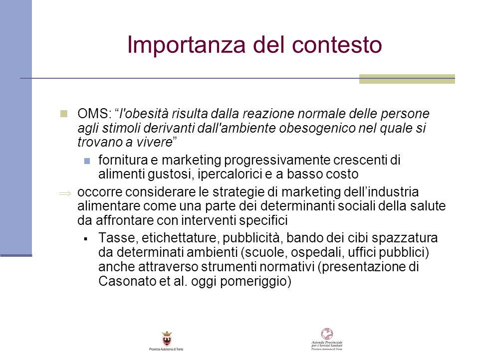Importanza del contesto OMS: l'obesità risulta dalla reazione normale delle persone agli stimoli derivanti dall'ambiente obesogenico nel quale si trov