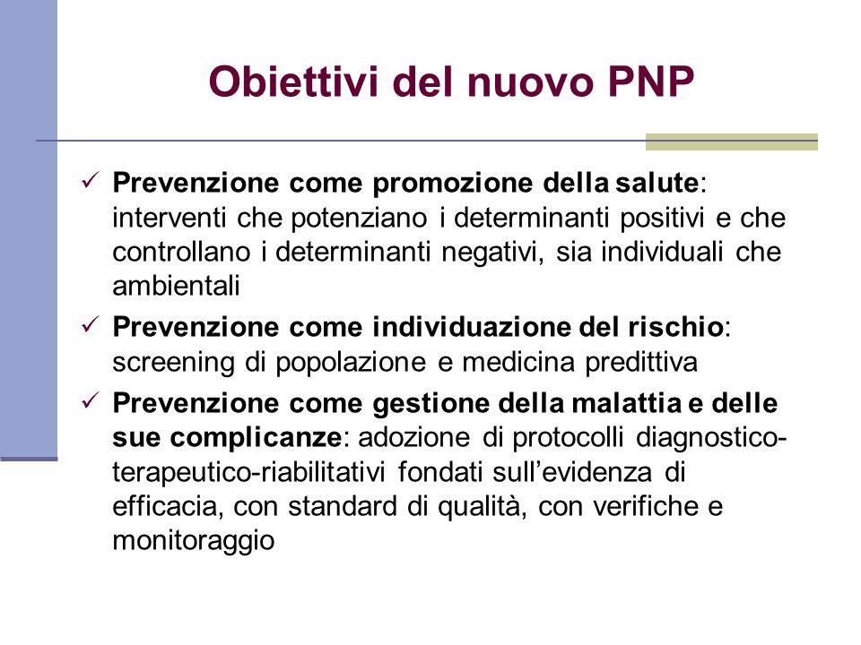 Obiettivi del nuovo PNP Prevenzione come promozione della salute: interventi che potenziano i determinanti positivi e che controllano i determinanti n