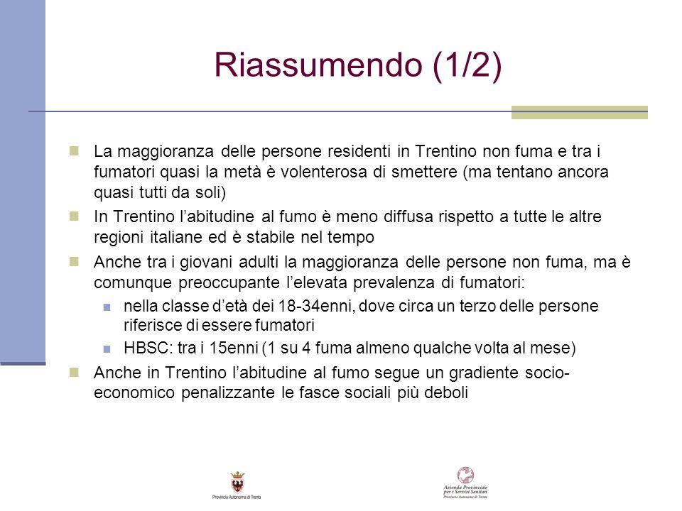 Riassumendo (1/2) La maggioranza delle persone residenti in Trentino non fuma e tra i fumatori quasi la metà è volenterosa di smettere (ma tentano anc