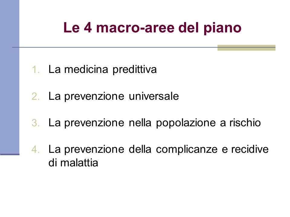 Le 4 macro-aree del piano 1. La medicina predittiva 2. La prevenzione universale 3. La prevenzione nella popolazione a rischio 4. La prevenzione della