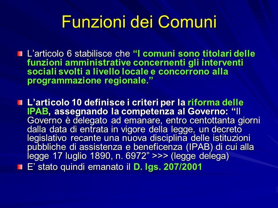Funzioni dei Comuni Larticolo 6 stabilisce che I comuni sono titolari delle funzioni amministrative concernenti gli interventi sociali svolti a livell