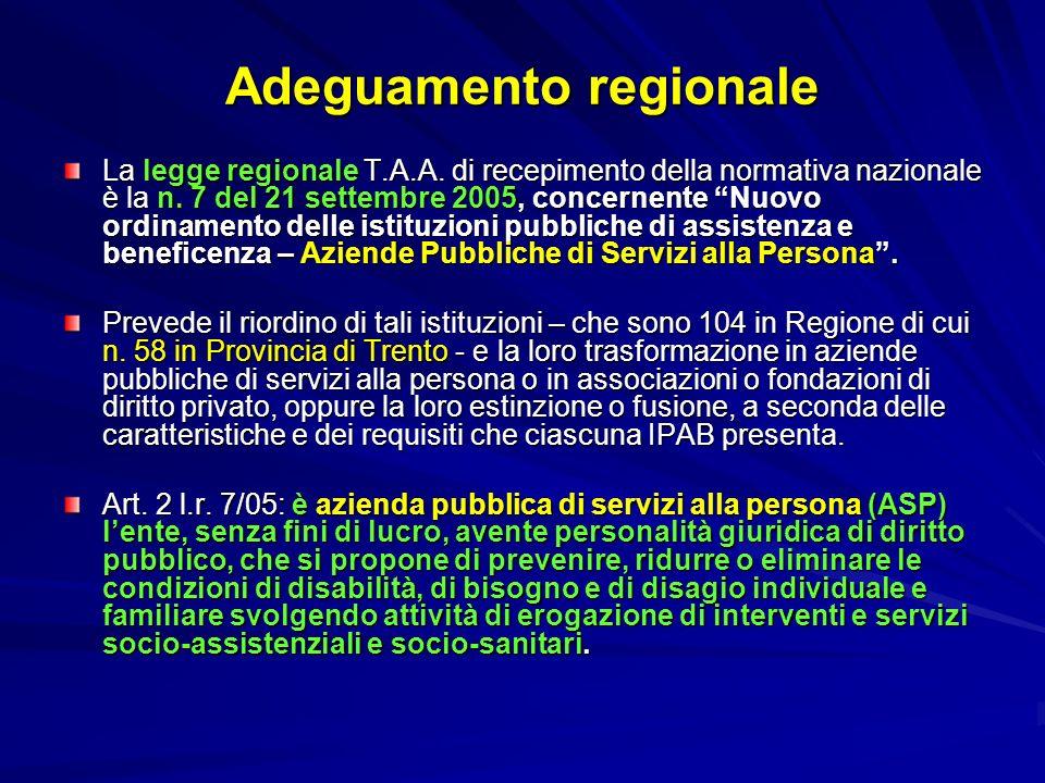 Adeguamento regionale La legge regionale T.A.A. di recepimento della normativa nazionale è la n. 7 del 21 settembre 2005, concernente Nuovo ordinament