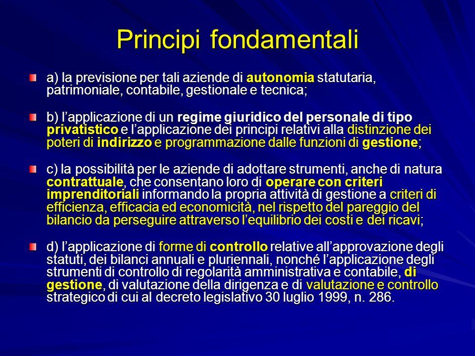 Principi fondamentali a) la previsione per tali aziende di autonomia statutaria, patrimoniale, contabile, gestionale e tecnica; b) lapplicazione di un