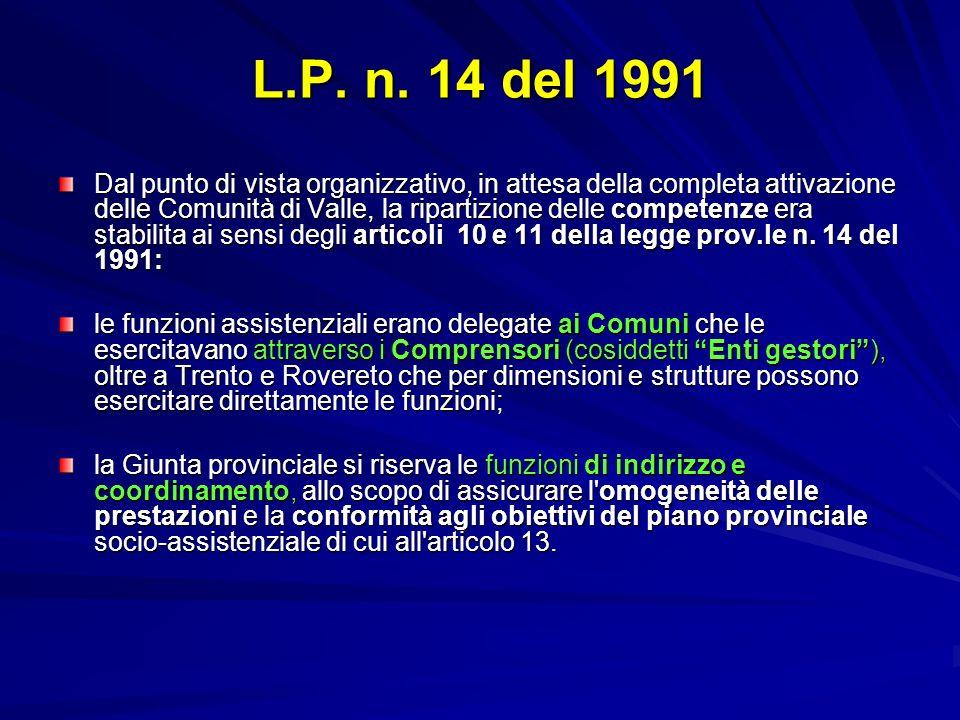 L.P. n. 14 del 1991 Dal punto di vista organizzativo, in attesa della completa attivazione delle Comunità di Valle, la ripartizione delle competenze e