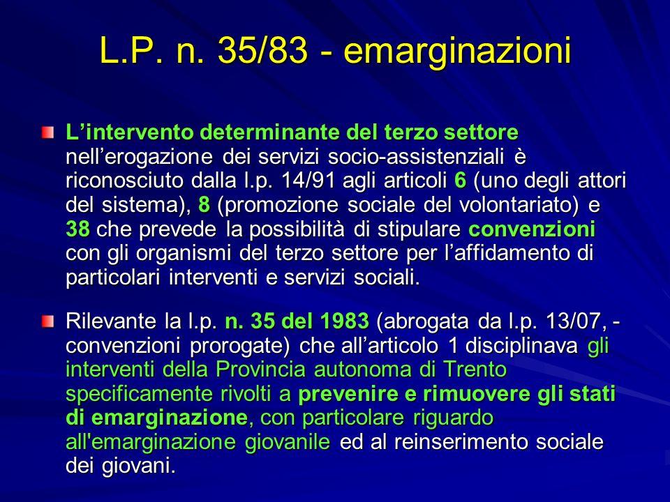 L.P. n. 35/83 - emarginazioni Lintervento determinante del terzo settore nellerogazione dei servizi socio-assistenziali è riconosciuto dalla l.p. 14/9
