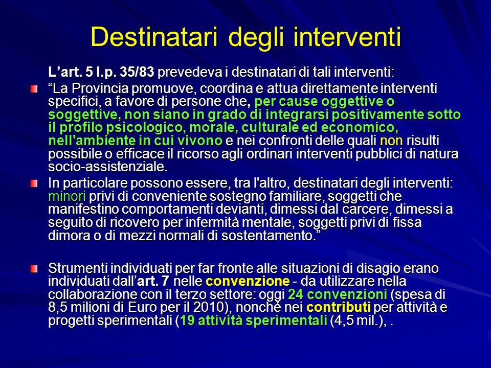 Destinatari degli interventi Lart. 5 l.p. 35/83 prevedeva i destinatari di tali interventi: La Provincia promuove, coordina e attua direttamente inter