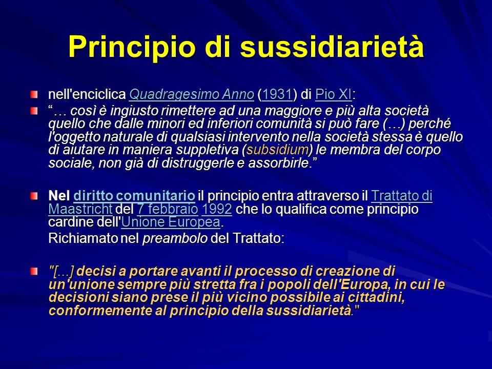 Principio di sussidiarietà nell'enciclica Quadragesimo Anno (1931) di Pio XI: Quadragesimo Anno1931Pio XIQuadragesimo Anno1931Pio XI … così è ingiusto