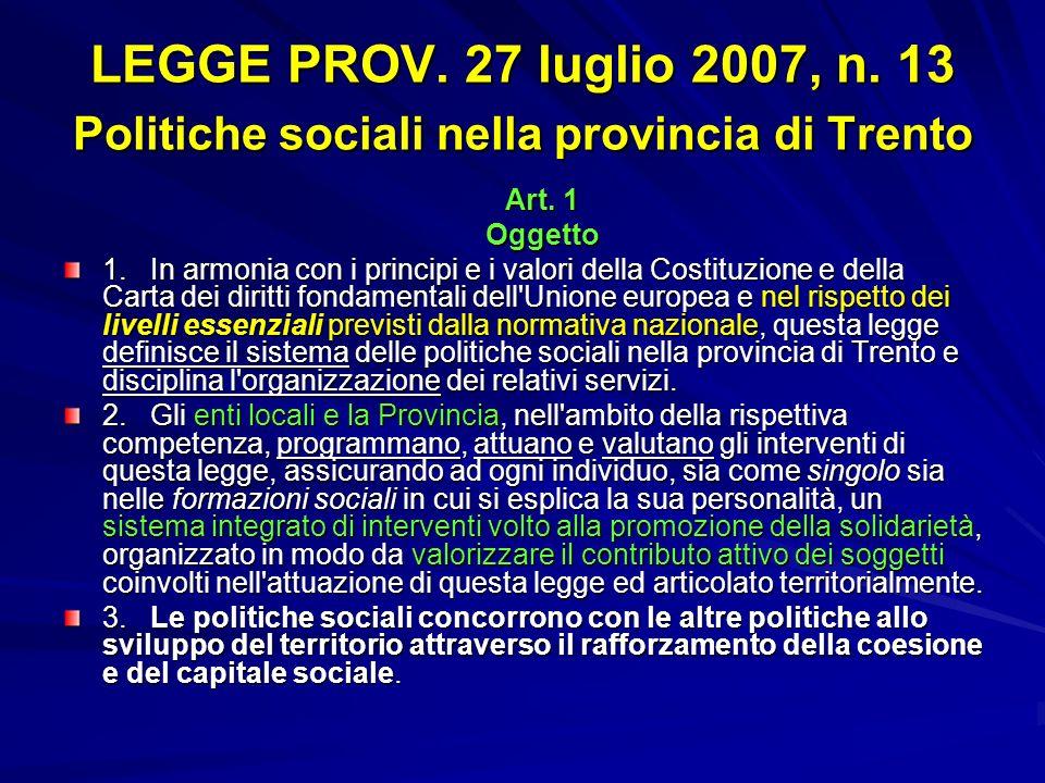 LEGGE PROV. 27 luglio 2007, n. 13 Politiche sociali nella provincia di Trento Art. 1 Oggetto 1. In armonia con i principi e i valori della Costituzion