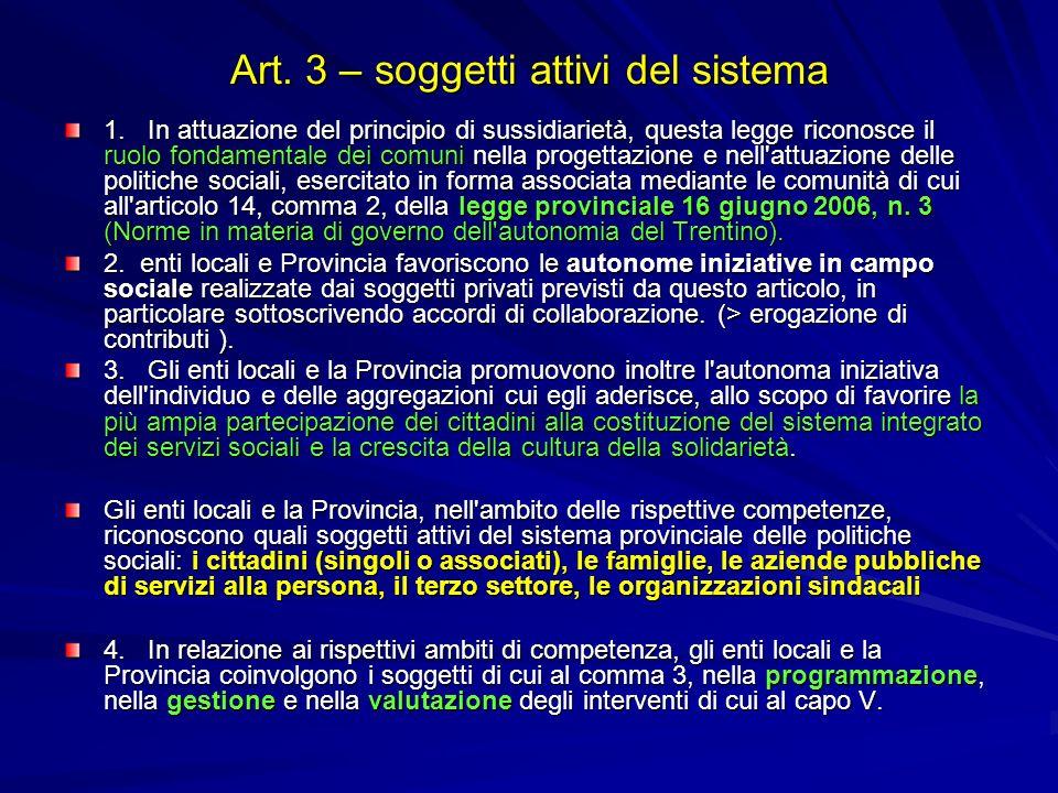 Art. 3 – soggetti attivi del sistema 1. In attuazione del principio di sussidiarietà, questa legge riconosce il ruolo fondamentale dei comuni nella pr