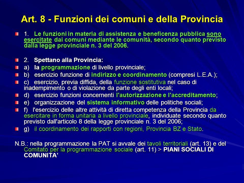 Art. 8 - Funzioni dei comuni e della Provincia 1. Le funzioni in materia di assistenza e beneficenza pubblica sono esercitate dai comuni mediante le c
