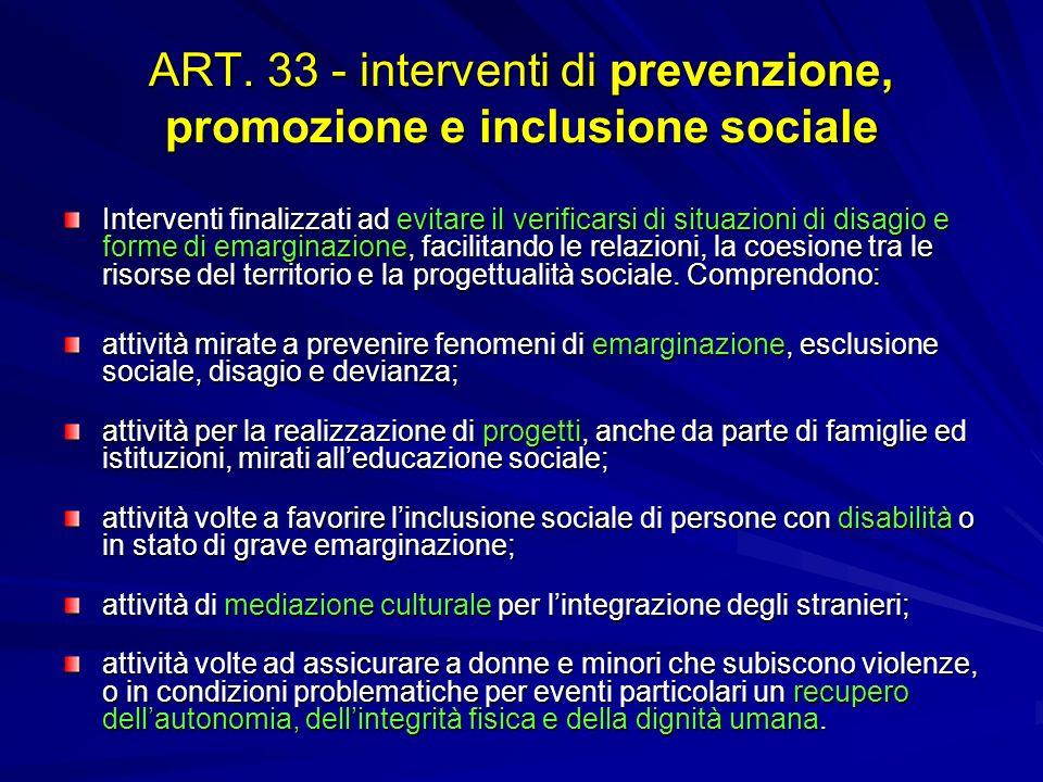 ART. 33 - interventi di prevenzione, promozione e inclusione sociale Interventi finalizzati ad evitare il verificarsi di situazioni di disagio e forme