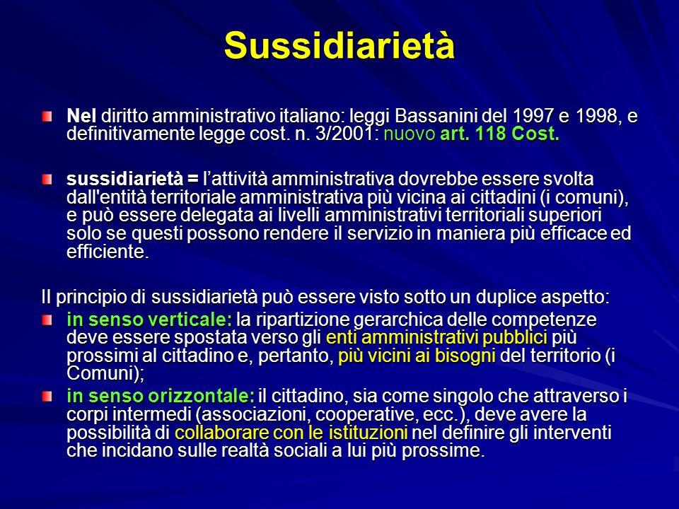 Sussidiarietà Nel diritto amministrativo italiano: leggi Bassanini del 1997 e 1998, e definitivamente legge cost. n. 3/2001: nuovo art. 118 Cost. suss