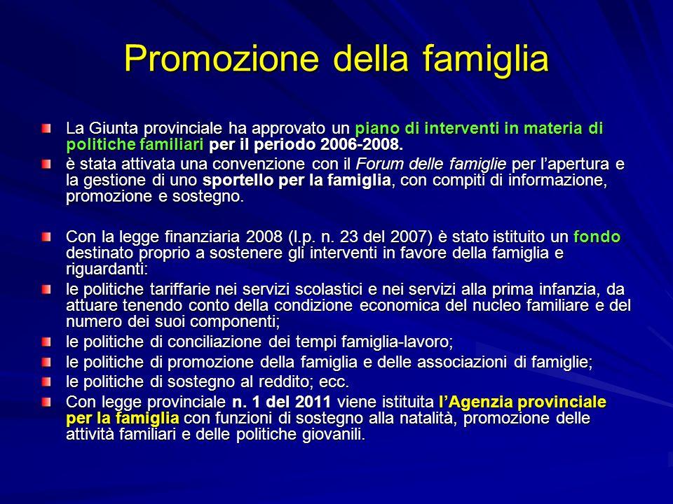 Promozione della famiglia La Giunta provinciale ha approvato un piano di interventi in materia di politiche familiari per il periodo 2006-2008. è stat