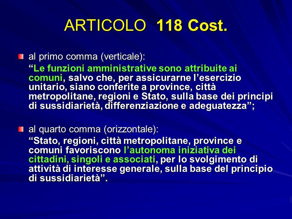 ARTICOLO 118 Cost. al primo comma (verticale): Le funzioni amministrative sono attribuite ai comuni, salvo che, per assicurarne lesercizio unitario, s