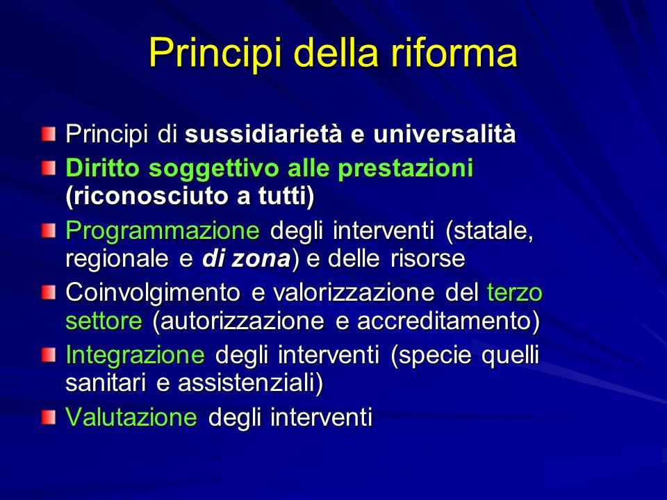 Principi della riforma Principi di sussidiarietà e universalità Diritto soggettivo alle prestazioni (riconosciuto a tutti) Programmazione degli interv