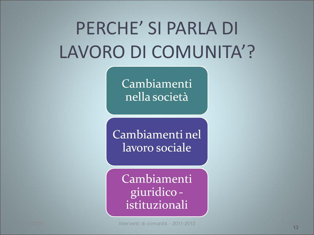 PERCHE SI PARLA DI LAVORO DI COMUNITA 13 17/10/2008Interventi di comunità - 2011-201213