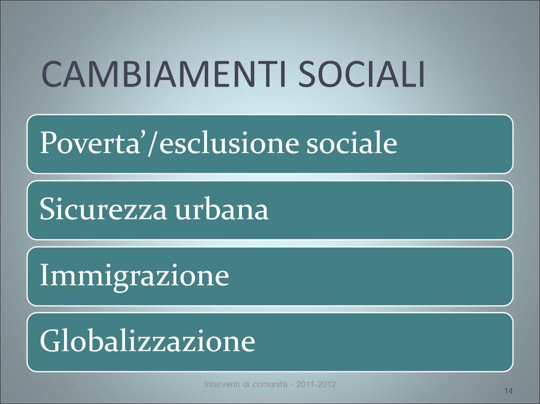 CAMBIAMENTI SOCIALI 14 17/10/2008Interventi di comunità - 2011-201214
