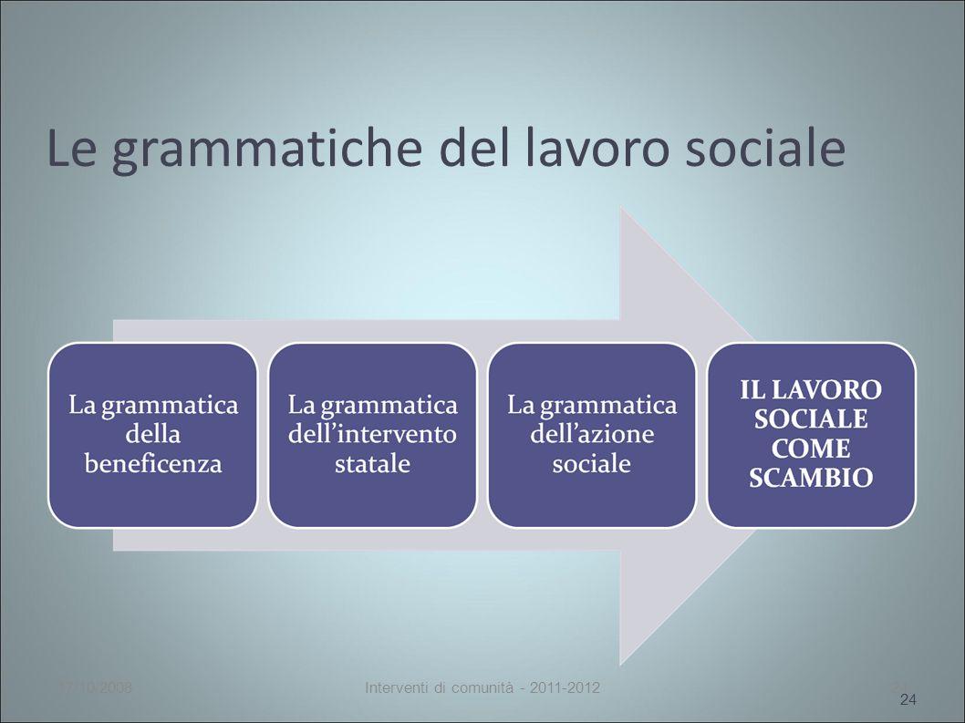 Le grammatiche del lavoro sociale 24 17/10/2008Interventi di comunità - 2011-201224