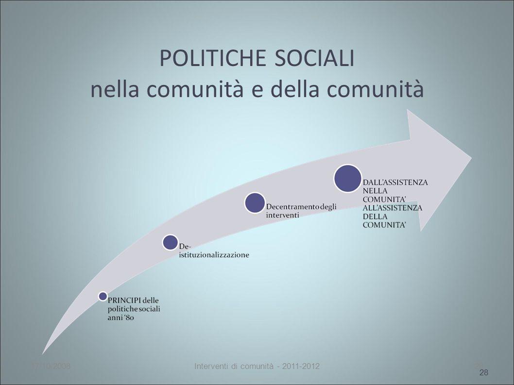 POLITICHE SOCIALI nella comunità e della comunità 28 17/10/2008Interventi di comunità - 2011-201228