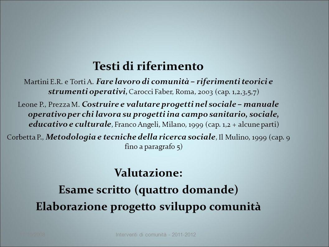 17/10/2008Interventi di comunità - 2011-20123 Testi di riferimento Martini E.R.