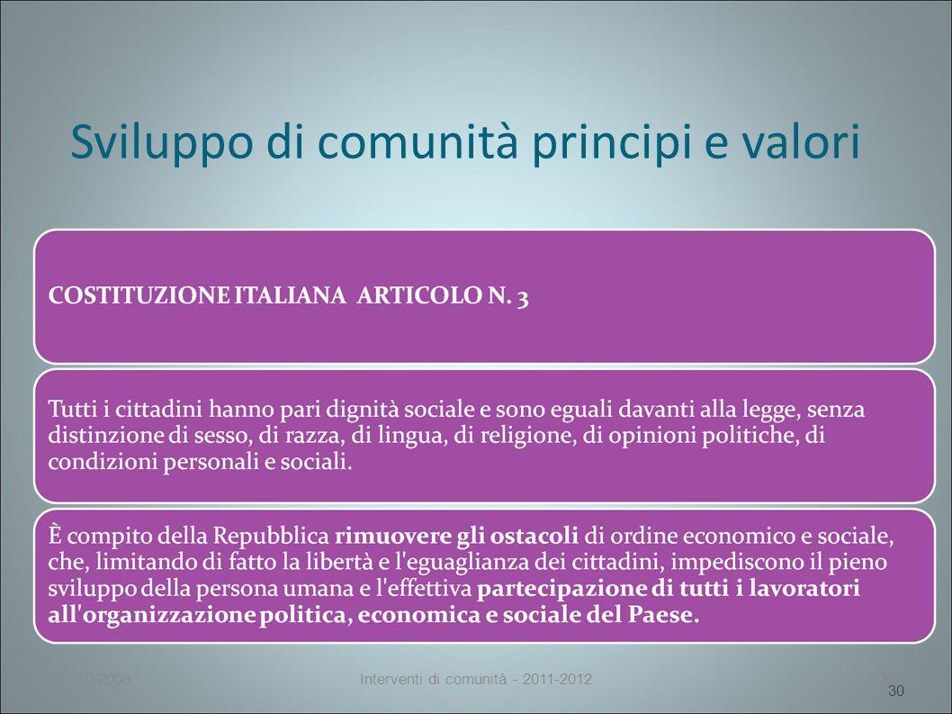 Sviluppo di comunità principi e valori 30 17/10/2008Interventi di comunità - 2011-201230