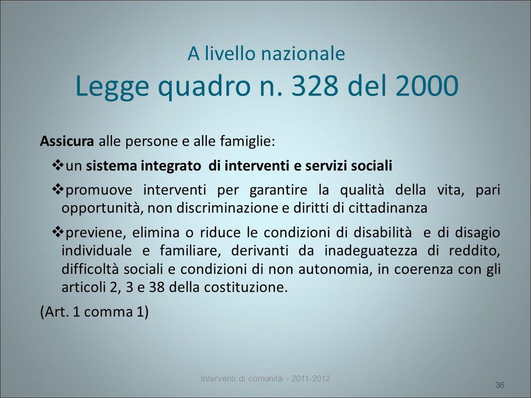 A livello nazionale Legge quadro n.