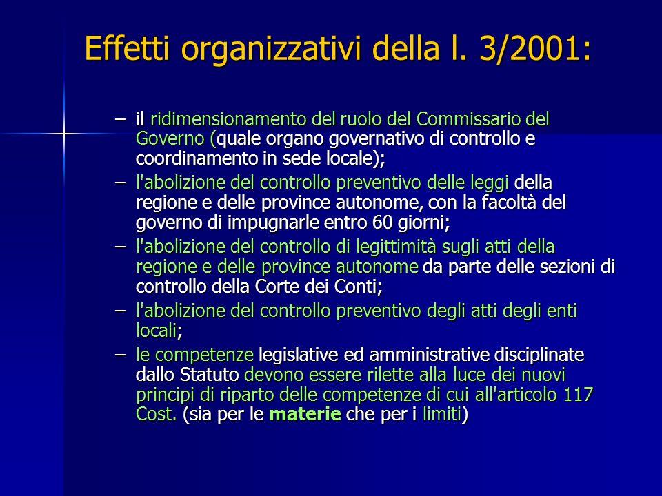 Effetti organizzativi della l. 3/2001: –il ridimensionamento del ruolo del Commissario del Governo (quale organo governativo di controllo e coordiname