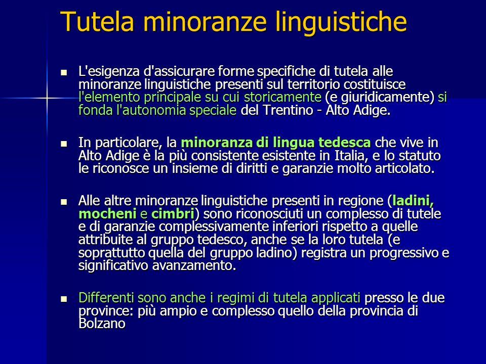 Tutela minoranze linguistiche L'esigenza d'assicurare forme specifiche di tutela alle minoranze linguistiche presenti sul territorio costituisce l'ele