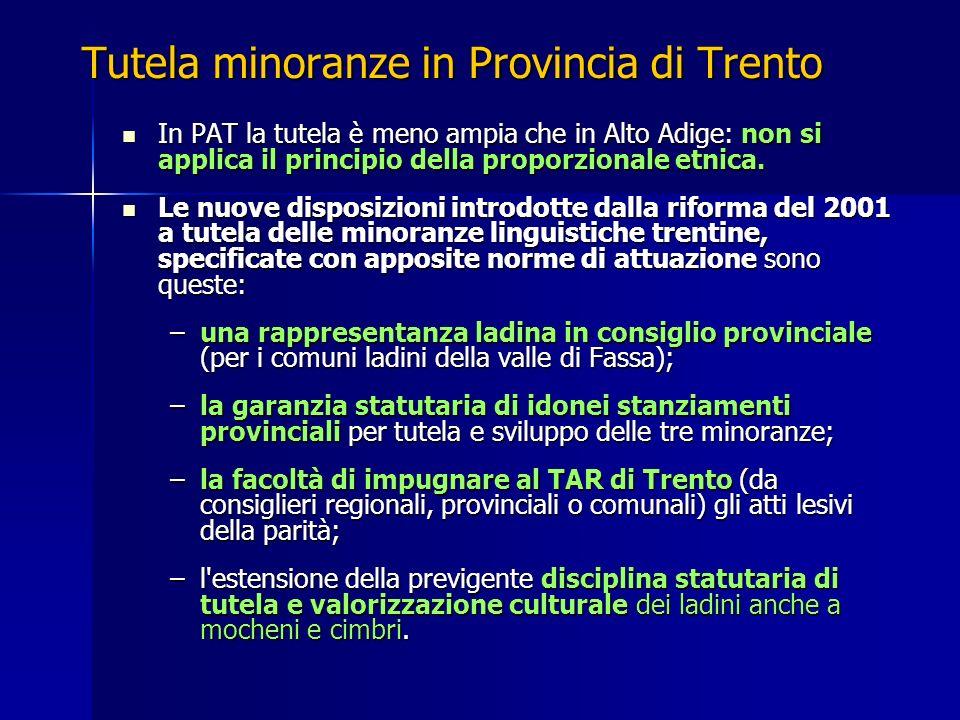 Tutela minoranze in Provincia di Trento In PAT la tutela è meno ampia che in Alto Adige: non si applica il principio della proporzionale etnica. In PA