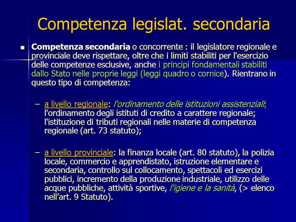 Competenza legislat. secondaria Competenza secondaria o concorrente : il legislatore regionale e provinciale deve rispettare, oltre che i limiti stabi
