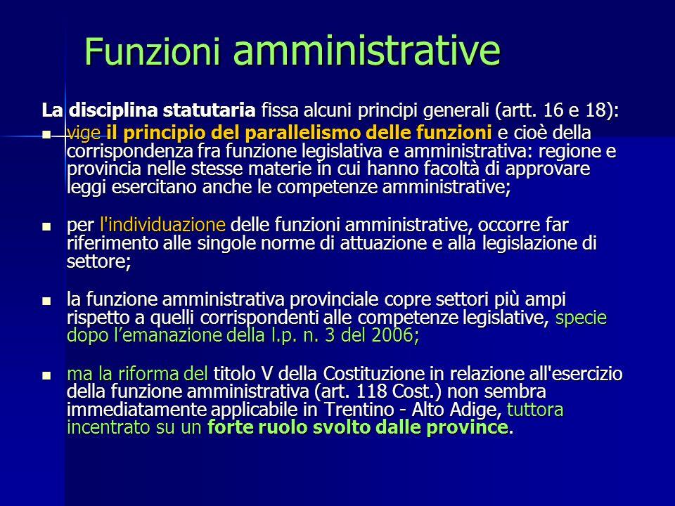 Funzioni amministrative La disciplina statutaria fissa alcuni principi generali (artt. 16 e 18): vige il principio del parallelismo delle funzioni e c