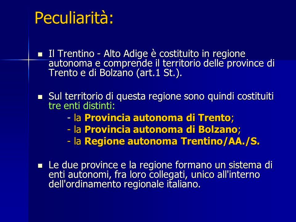 Peculiarità: Il Trentino - Alto Adige è costituito in regione autonoma e comprende il territorio delle province di Trento e di Bolzano (art.1 St.). Il