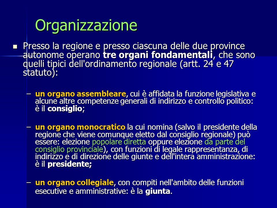 Organizzazione Presso la regione e presso ciascuna delle due province autonome operano tre organi fondamentali, che sono quelli tipici dell'ordinament