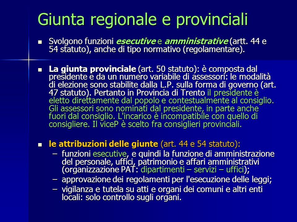 Giunta regionale e provinciali Svolgono funzioni esecutive e amministrative (artt. 44 e 54 statuto), anche di tipo normativo (regolamentare). Svolgono
