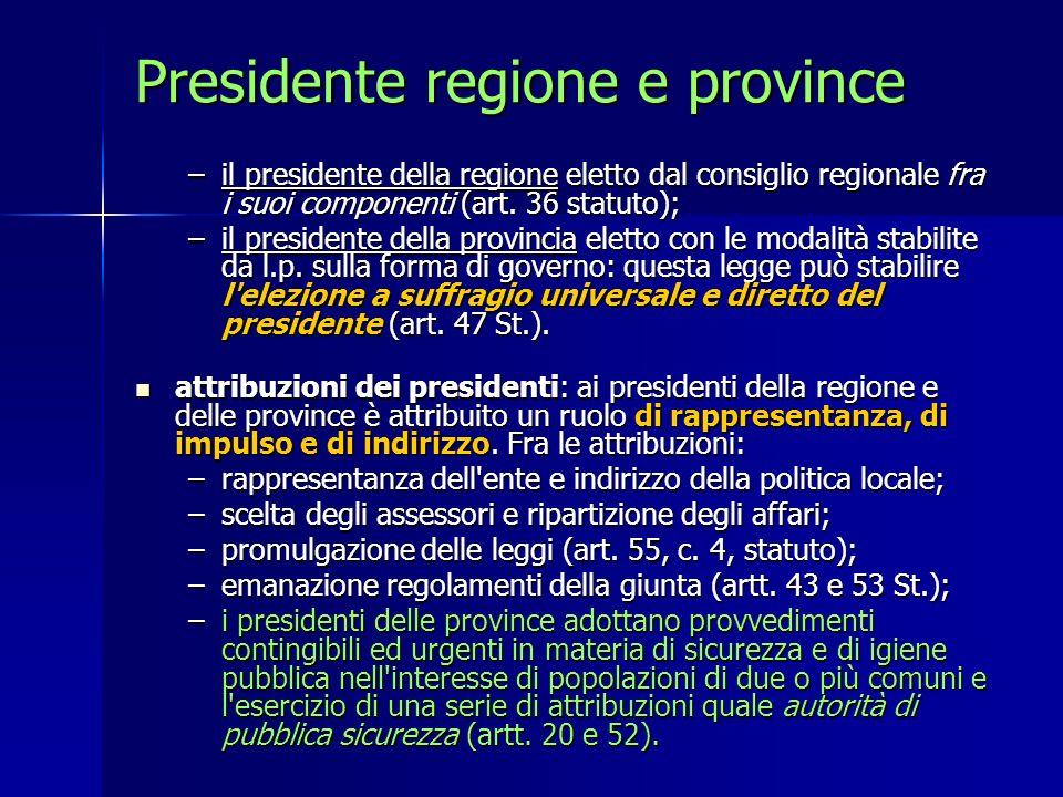 Presidente regione e province –il presidente della regione eletto dal consiglio regionale fra i suoi componenti (art. 36 statuto); –il presidente dell