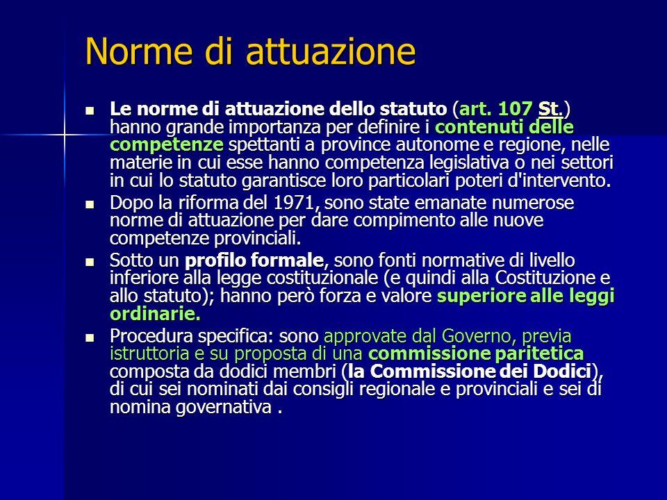 Norme di attuazione Le norme di attuazione dello statuto (art. 107 St.) hanno grande importanza per definire i contenuti delle competenze spettanti a