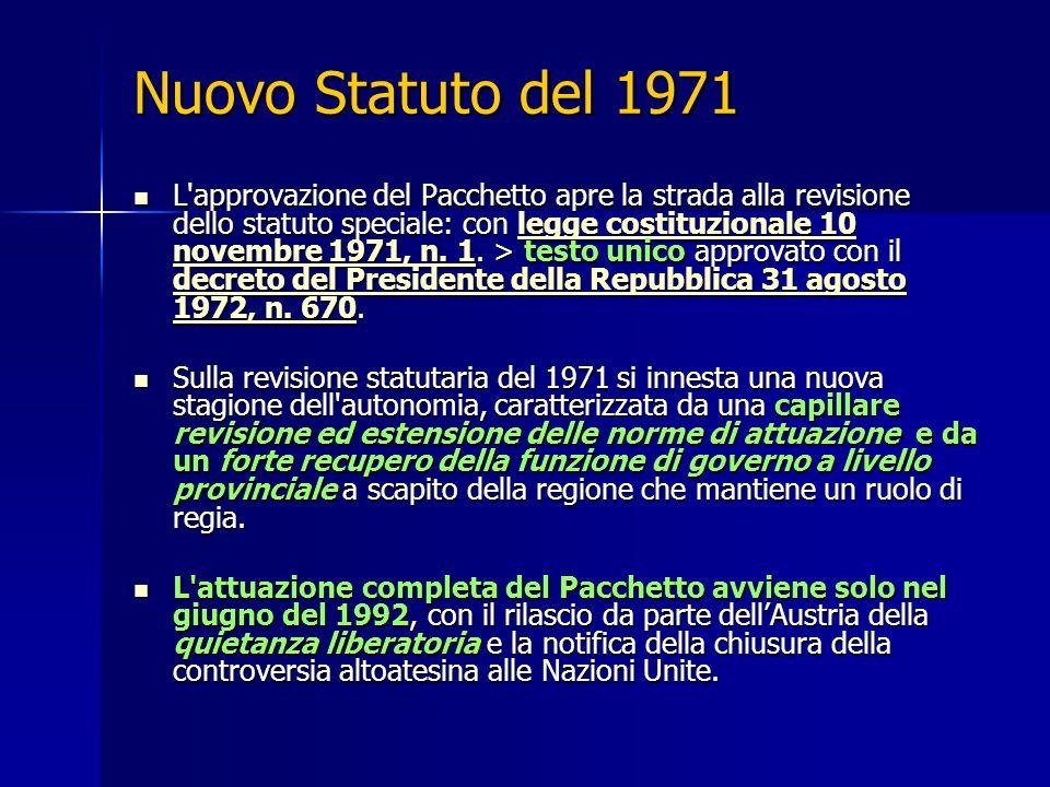 Nuovo Statuto del 1971 L'approvazione del Pacchetto apre la strada alla revisione dello statuto speciale: con legge costituzionale 10 novembre 1971, n