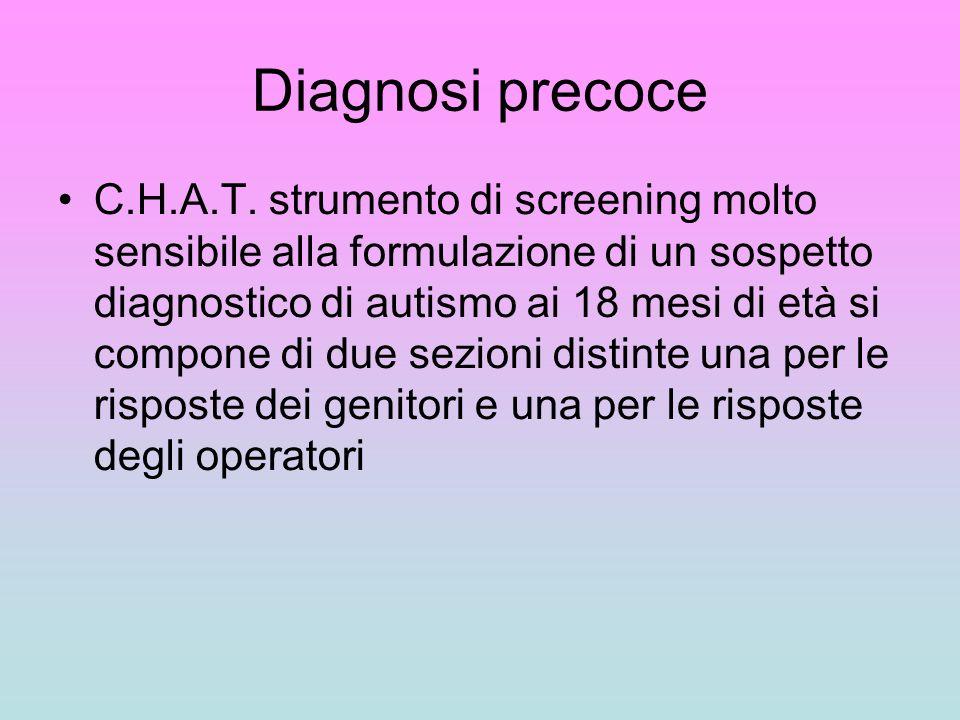 Diagnosi precoce C.H.A.T. strumento di screening molto sensibile alla formulazione di un sospetto diagnostico di autismo ai 18 mesi di età si compone