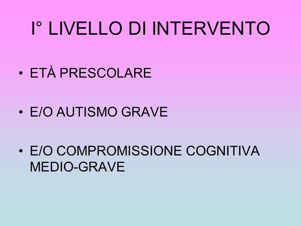 I° LIVELLO DI INTERVENTO ETÀ PRESCOLARE E/O AUTISMO GRAVE E/O COMPROMISSIONE COGNITIVA MEDIO-GRAVE