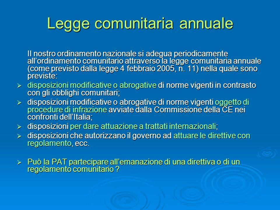 Legge comunitaria annuale Il nostro ordinamento nazionale si adegua periodicamente allordinamento comunitario attraverso la legge comunitaria annuale