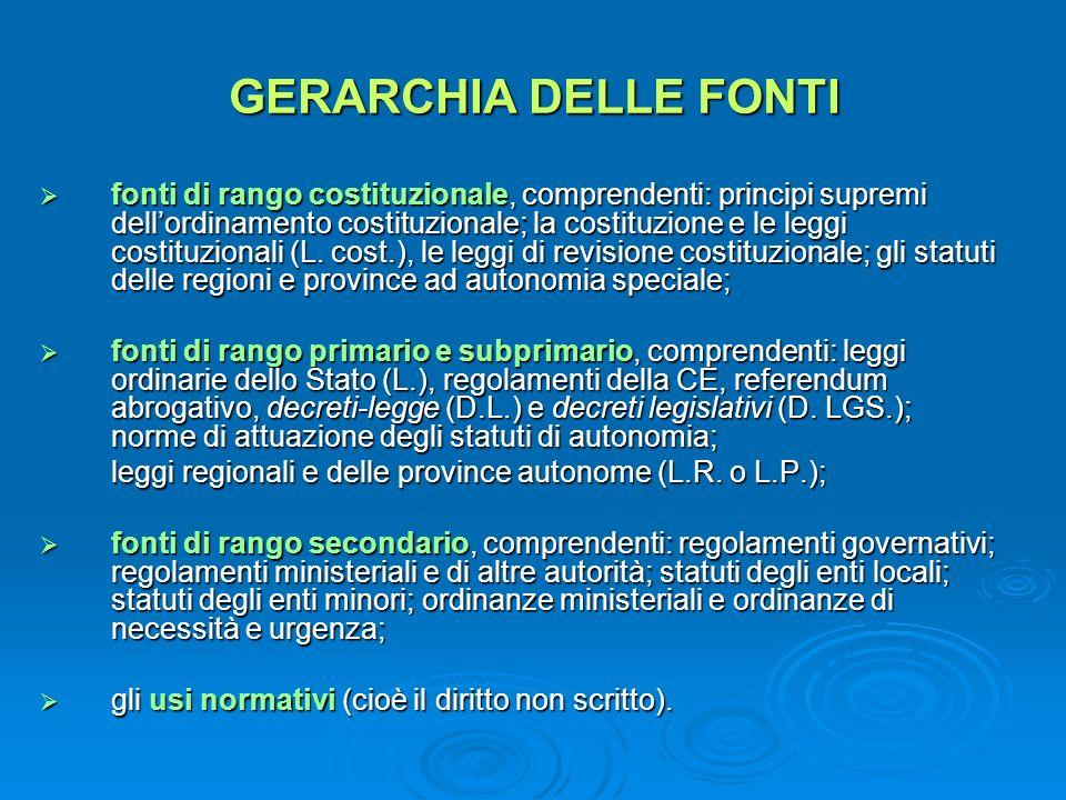 GERARCHIA DELLE FONTI fonti di rango costituzionale, comprendenti: principi supremi dellordinamento costituzionale; la costituzione e le leggi costitu