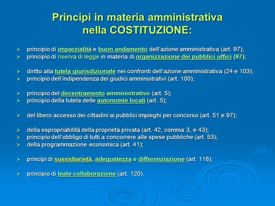 Principi in materia amministrativa nella COSTITUZIONE: principio di imparzialità e buon andamento dellazione amministrativa (art. 97); principio di im