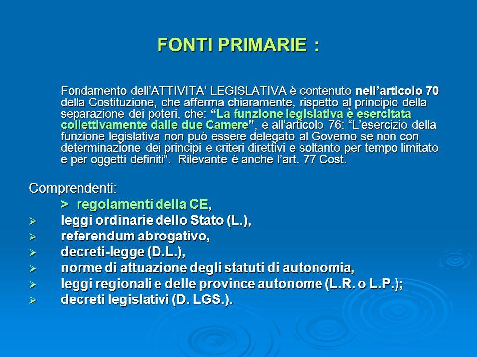 FONTI PRIMARIE : Fondamento dellATTIVITA LEGISLATIVA è contenuto nellarticolo 70 della Costituzione, che afferma chiaramente, rispetto al principio de