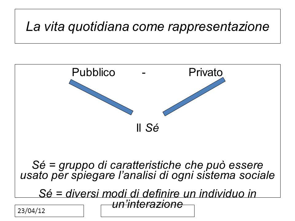 23/04/12 La vita quotidiana come rappresentazione Pubblico-Privato Il Sé Sé = gruppo di caratteristiche che può essere usato per spiegare lanalisi di