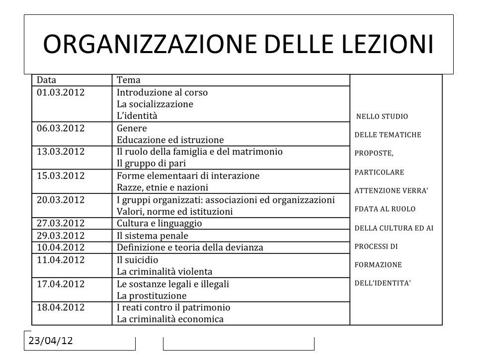 23/04/12 ORGANIZZAZIONE DELLE LEZIONI