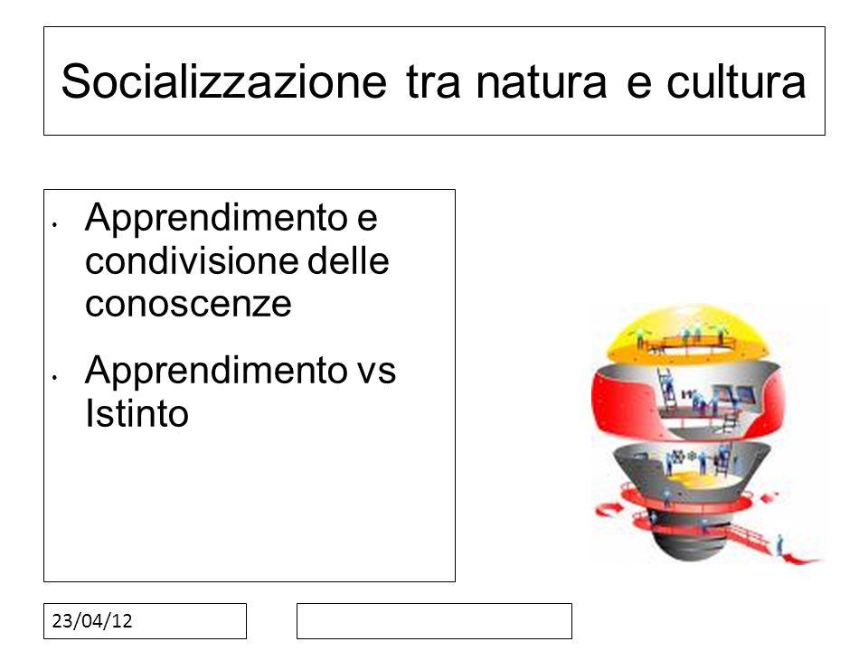 23/04/12 Socializzazione tra natura e cultura Apprendimento e condivisione delle conoscenze Apprendimento vs Istinto