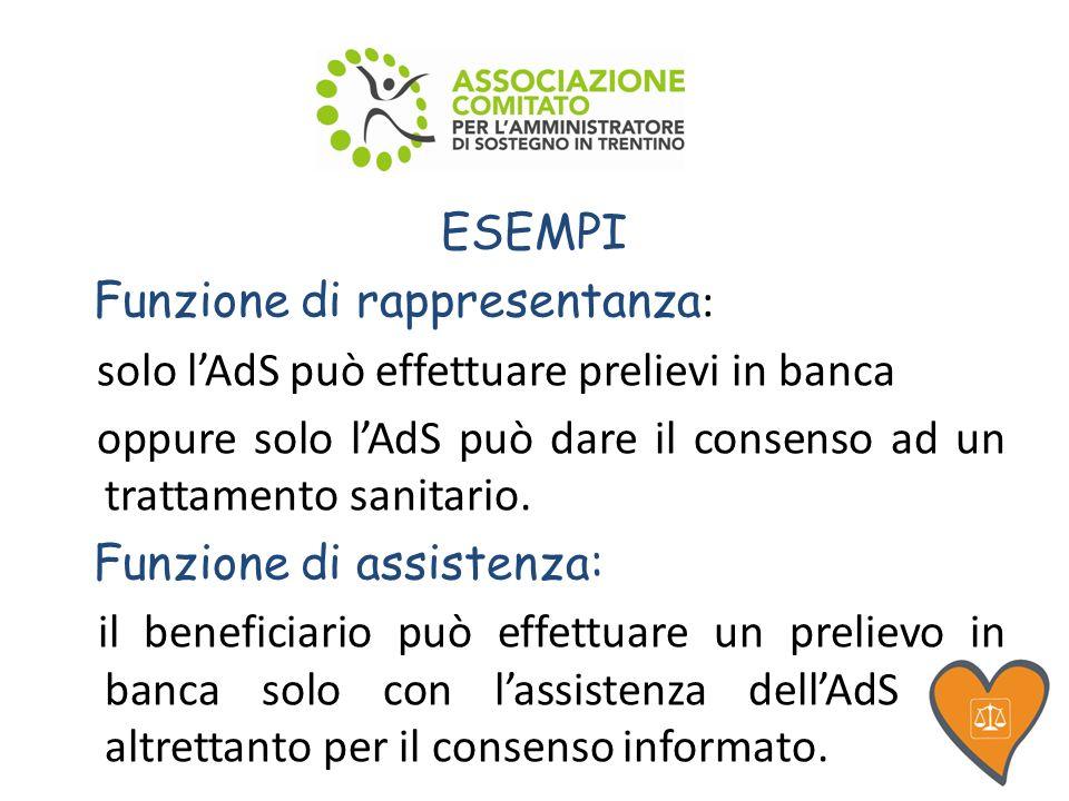 ESEMPI Funzione di rappresentanza : solo lAdS può effettuare prelievi in banca oppure solo lAdS può dare il consenso ad un trattamento sanitario.